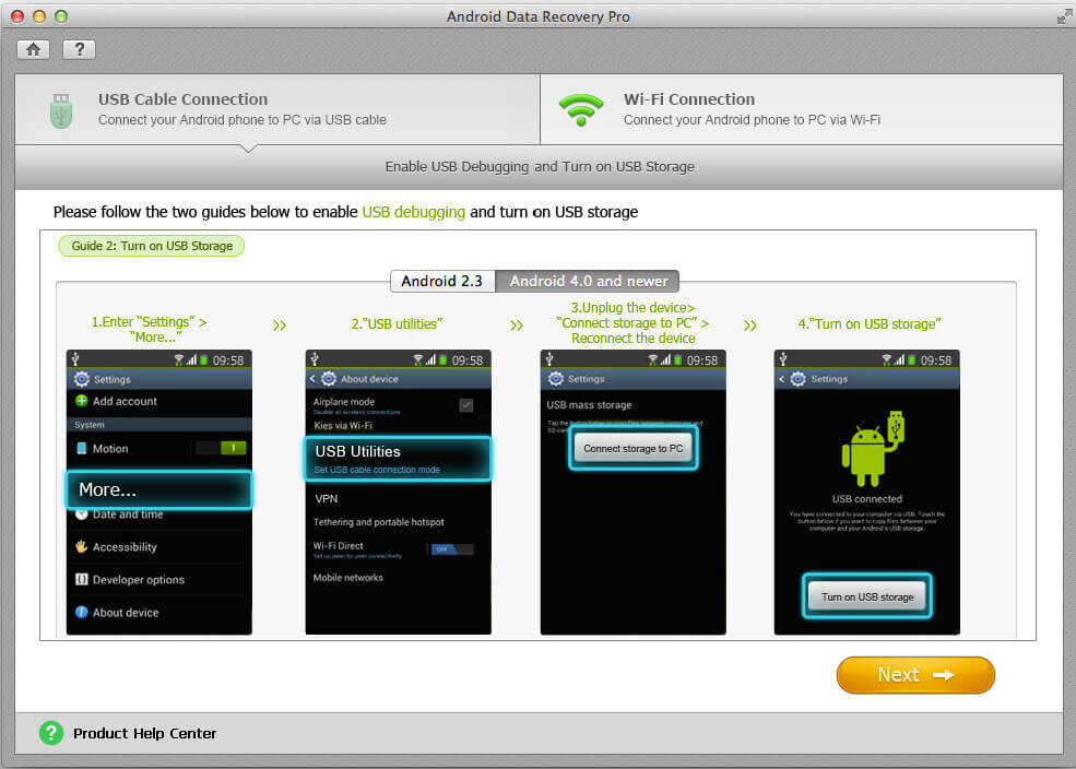 how to restore files from android device