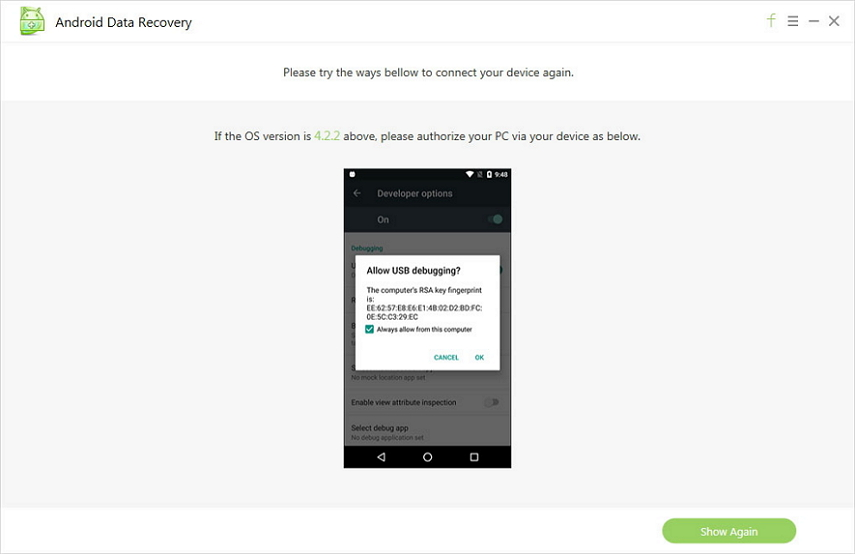 Screenshots of Tenorshare Android Data Recovery