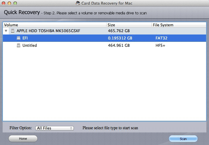 card data recovery for mac screenshots