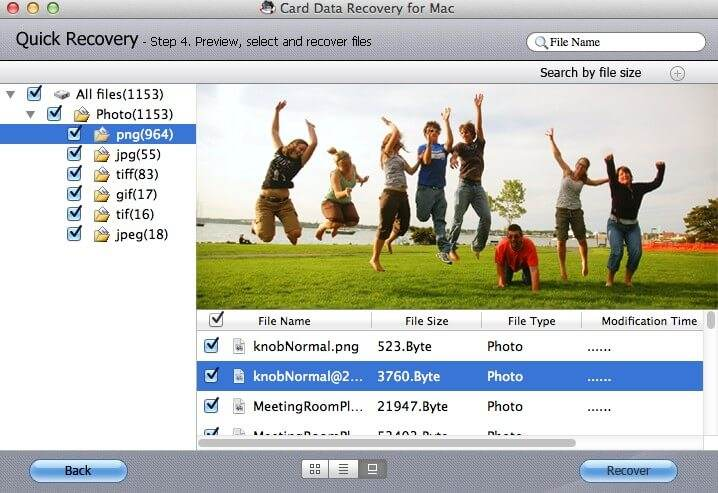 screenshots of mac card data recovery