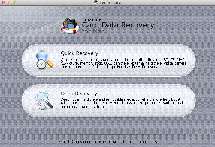 screenshots of card data recovery for mac
