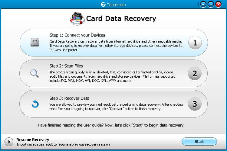 screenshots of card data recovery