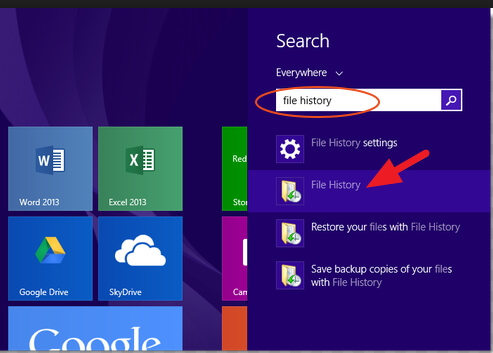 search for file history on windows 8.1