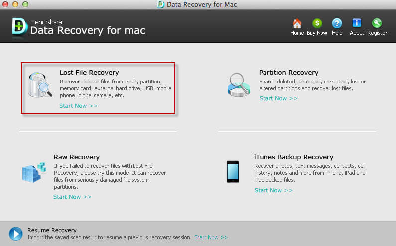 Screenshots of Tenorshare Data Recovery for Mac