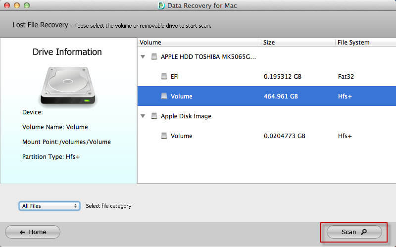 Screenshots of Data Recovery for Mac