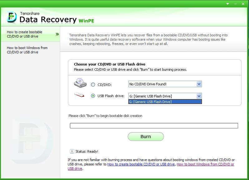 récupérer des captures d'écran de WinPE de données