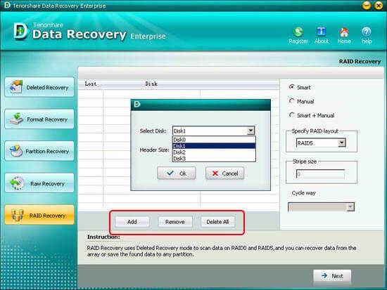 fichiers Récupération RAID