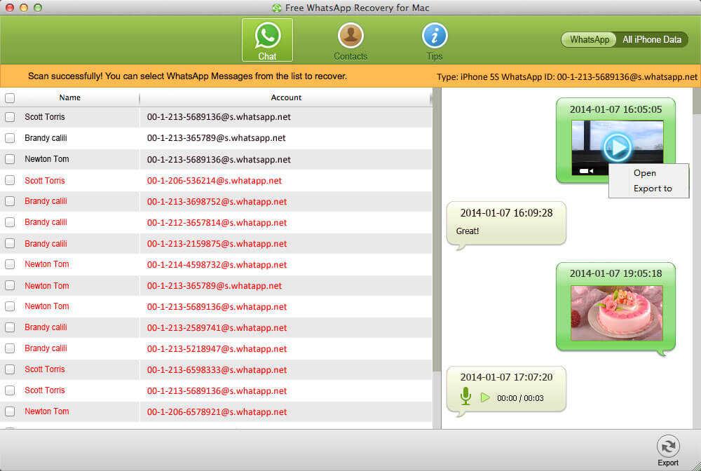 la façon de récupérer des messages WhatsApp de iphone mac