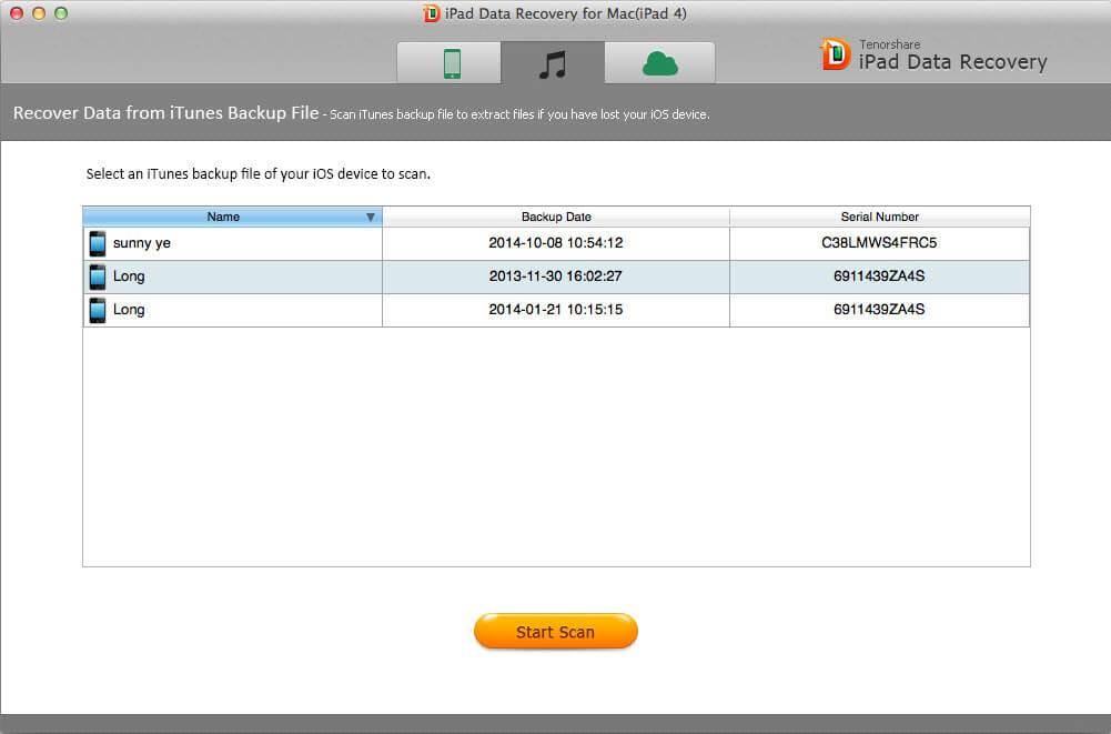 capturas de pantalla de recuperación de datos mac iPad
