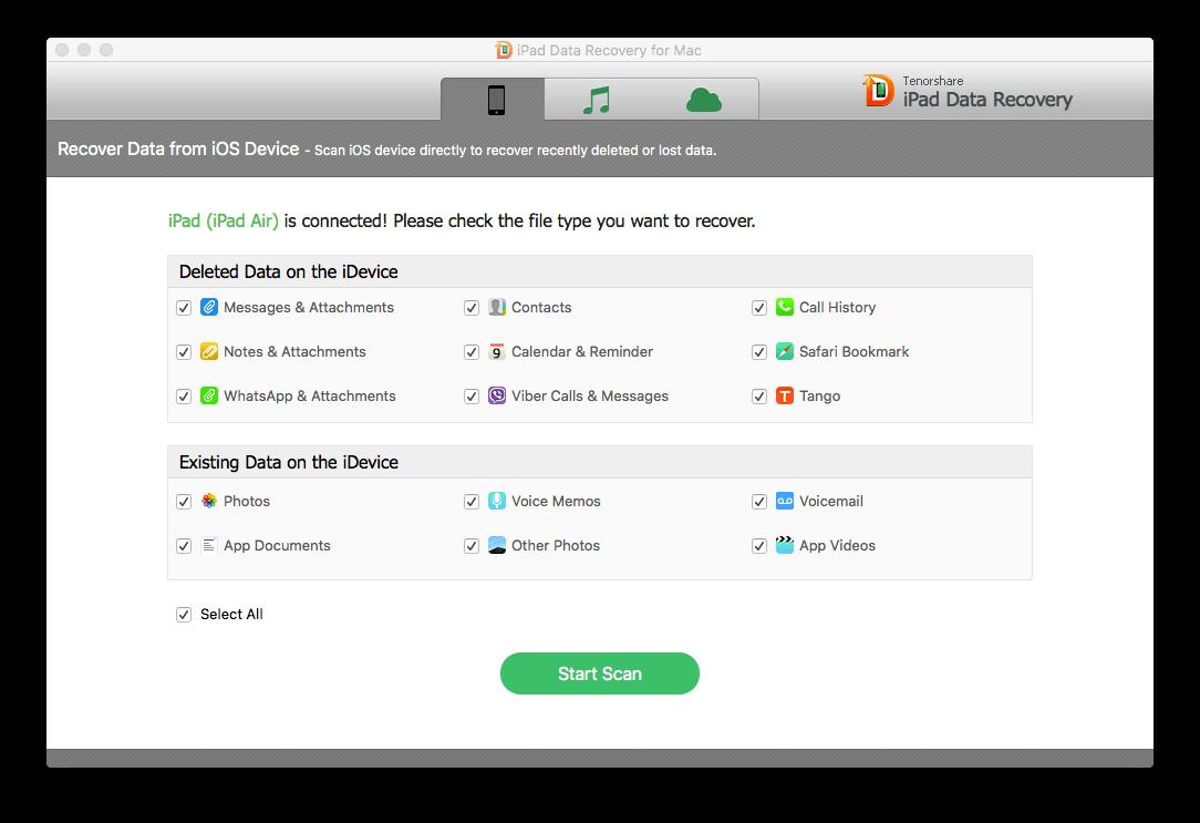 Mac iPad capturas de pantalla de recuperación de datos