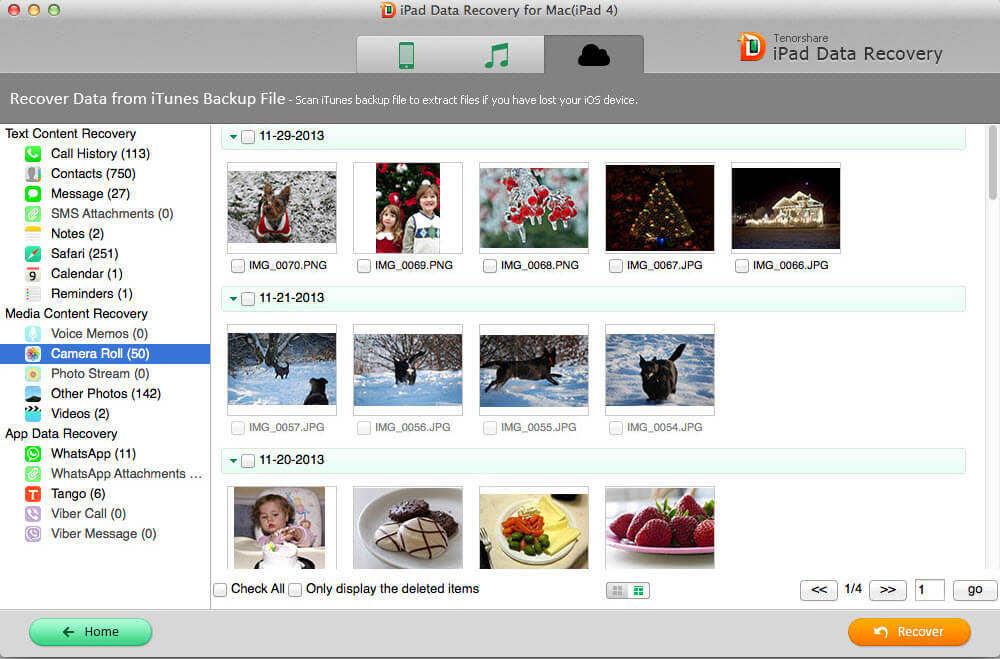capturas de pantalla de restaurar datos de iPads en mac