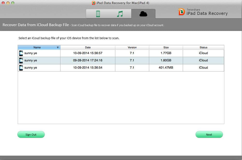スクリーンショットは、Mac上でiPadのデータを回復
