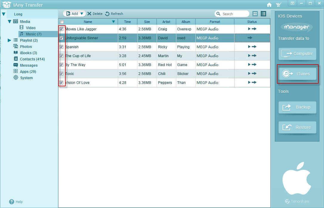 transférer des données de périphérique iOS à iTunes