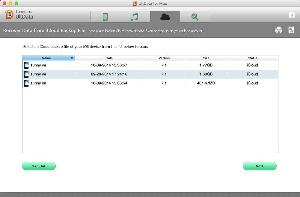 iCloudのバックアップからiPhoneを6データを復元