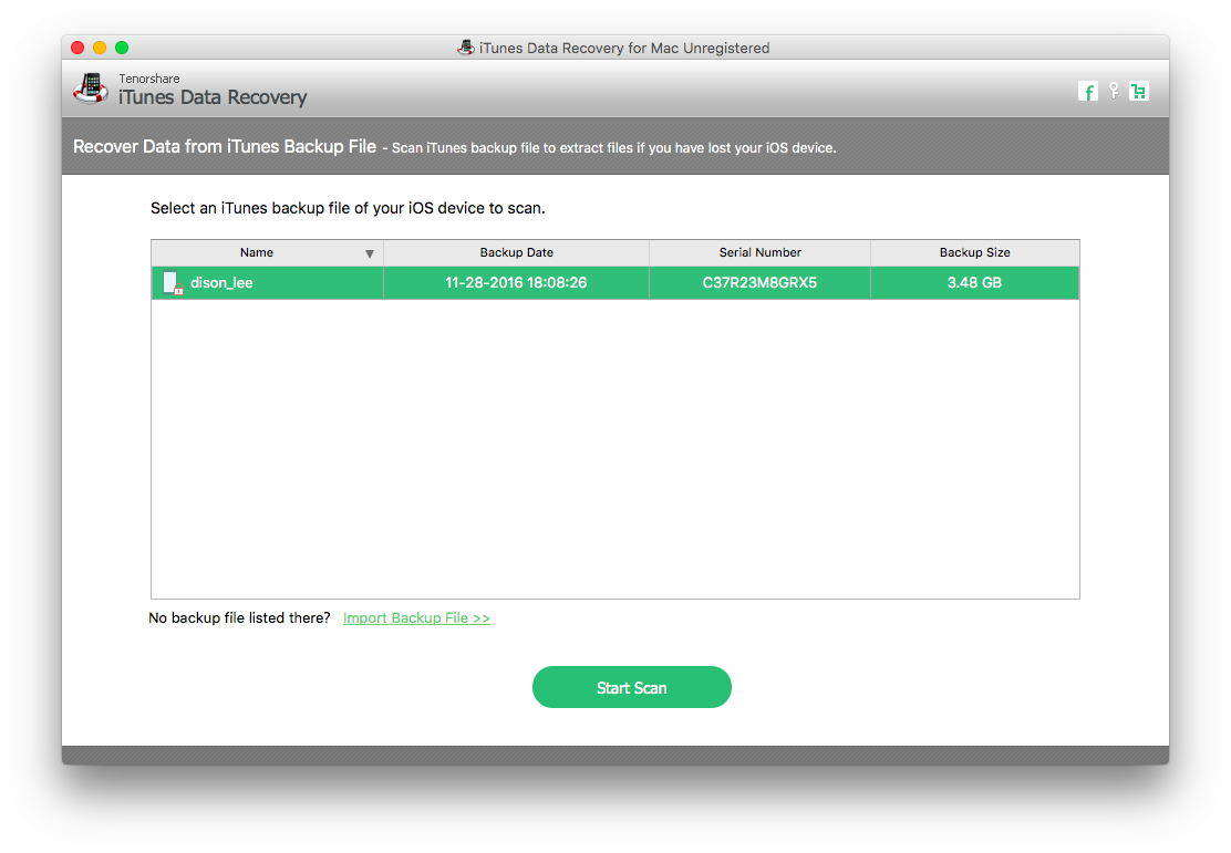 screenshots of itunes data recovery for mac
