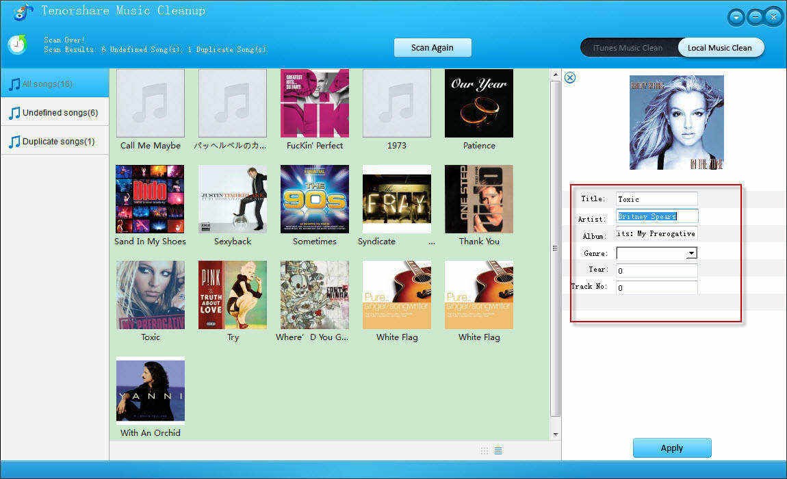 Screenshots of Tenorshare Music Cleanup