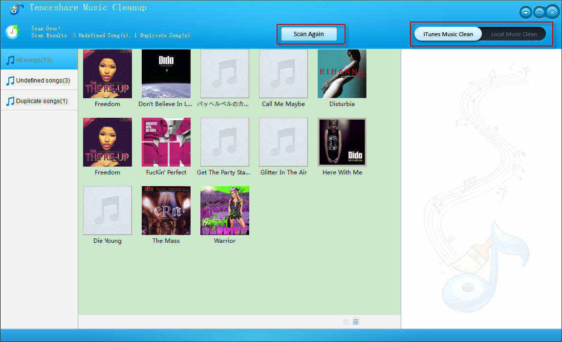 Screenshots of Music Cleanup