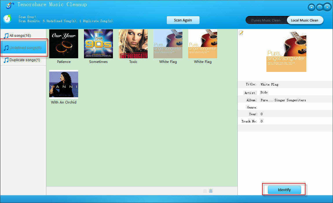 Music Cleanup interface