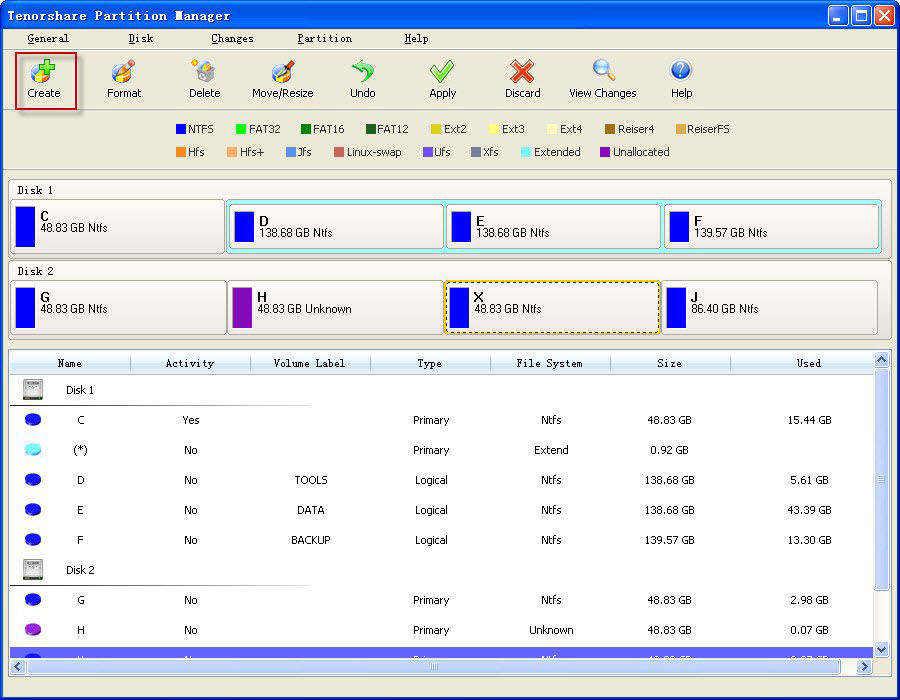 screenshots de gestionnaire de partition