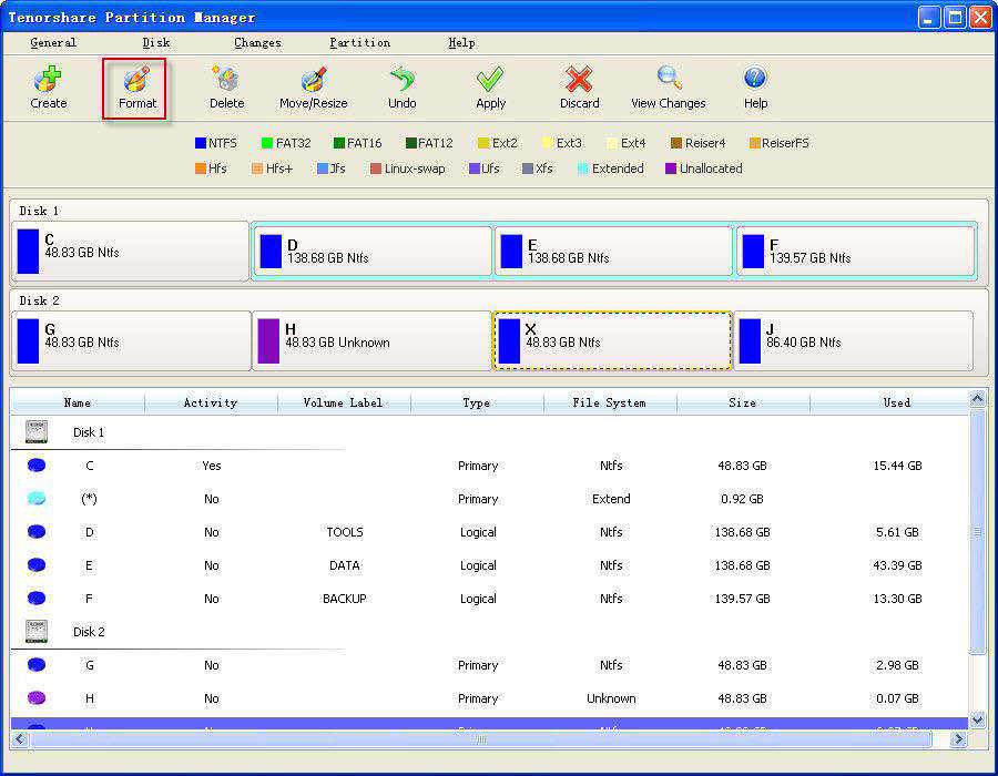 Partition Manager ui