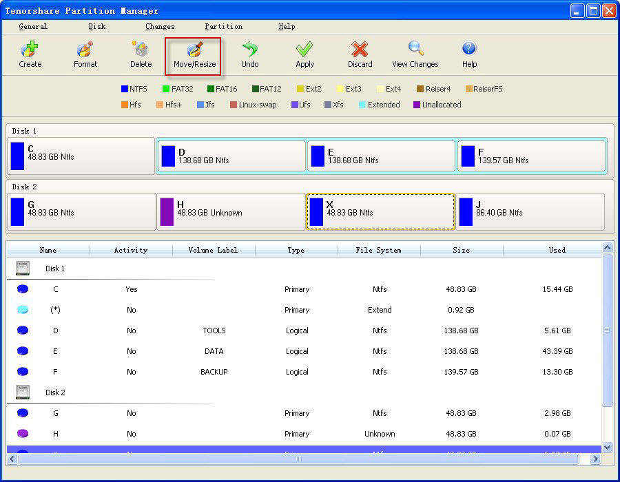 manager partition interface
