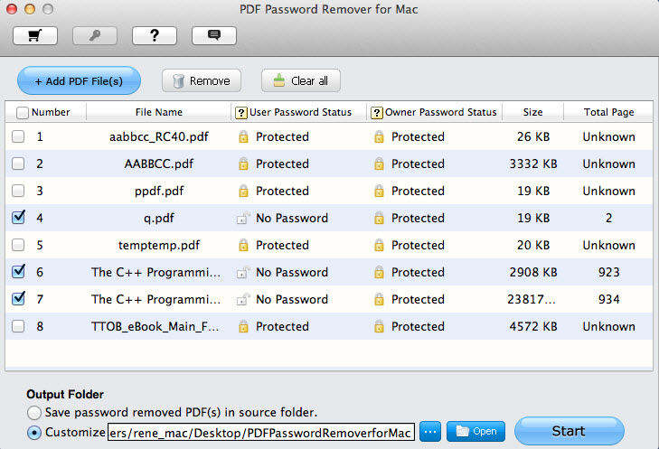 mac interfaz de PDF Password Remover