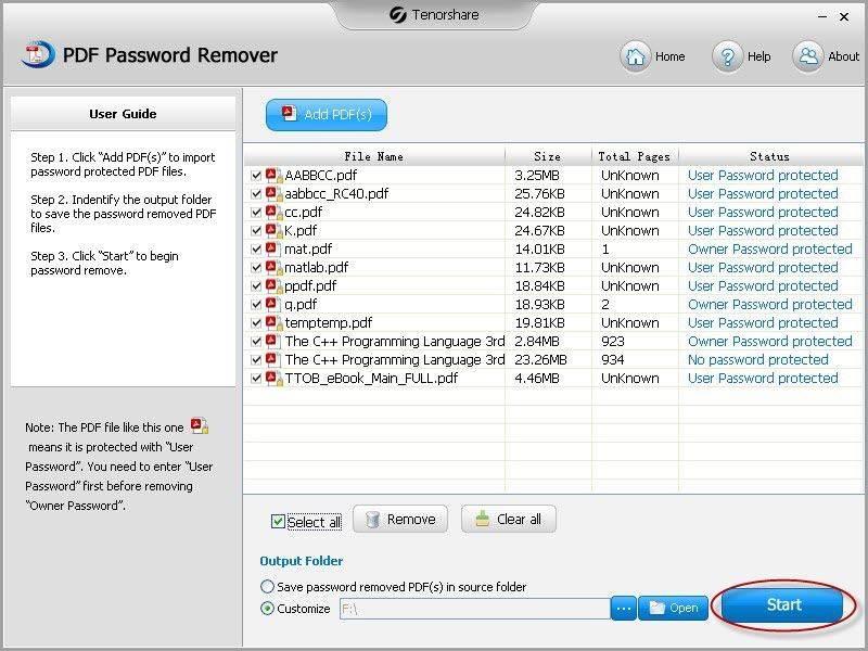 PDFパスワード除去UI