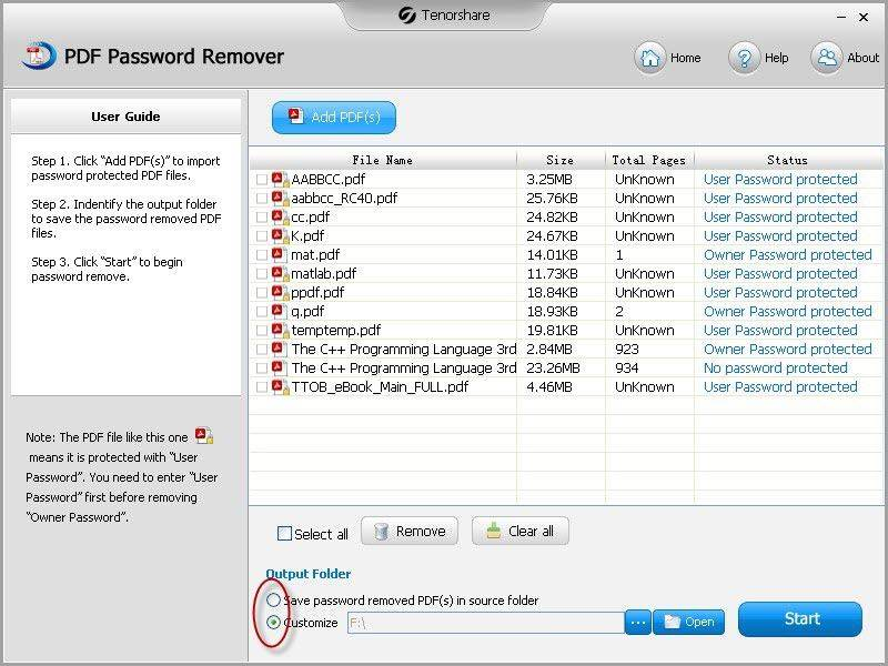 PDFパスワード除去インタフェース