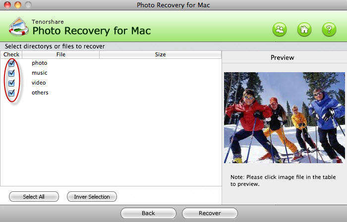 MAC写真の回復UI