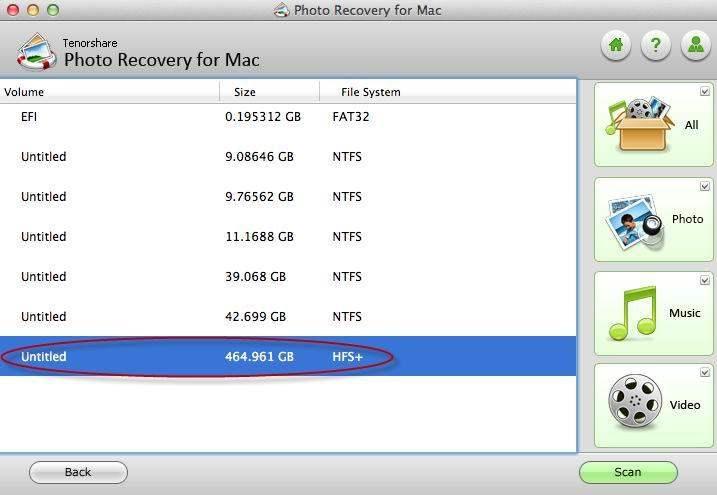 写真の回復MACインターフェース