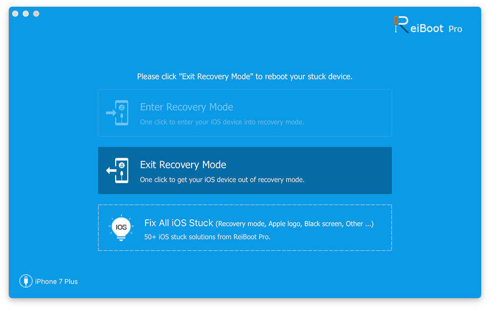 exit recovery mode to fix ios stuck