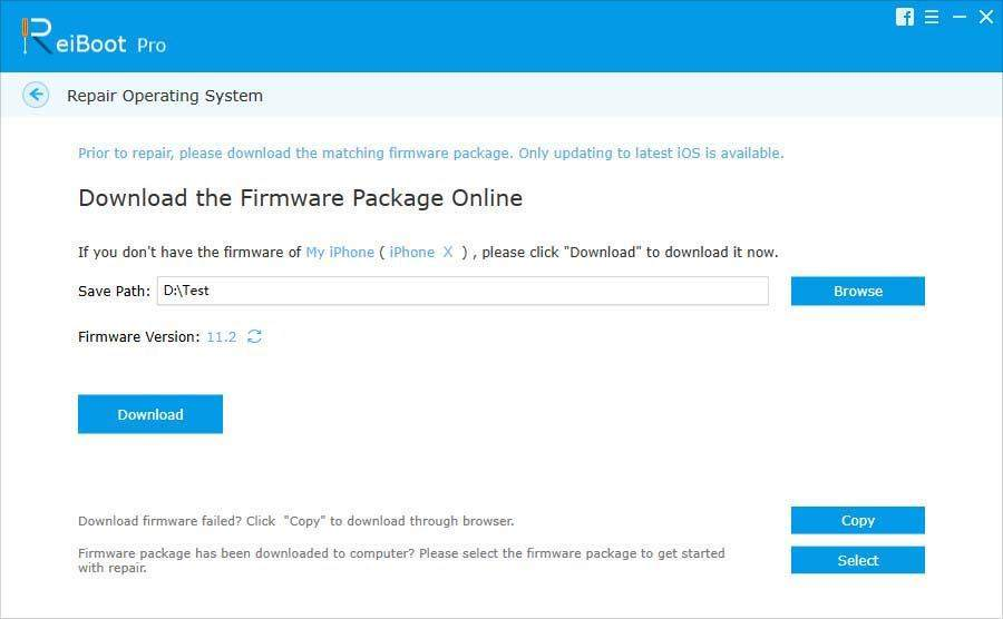 download the firmware package to repair siri