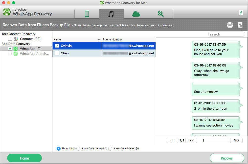 iphoneのMacからwhatsapp会話を回復する方法