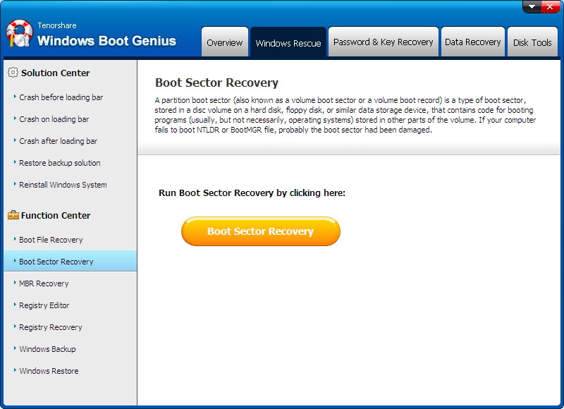 boot sector recovery