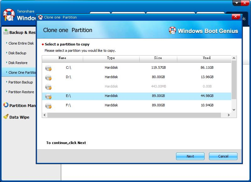 clone one partition 2
