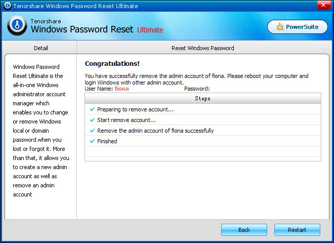 windows password recovery ui