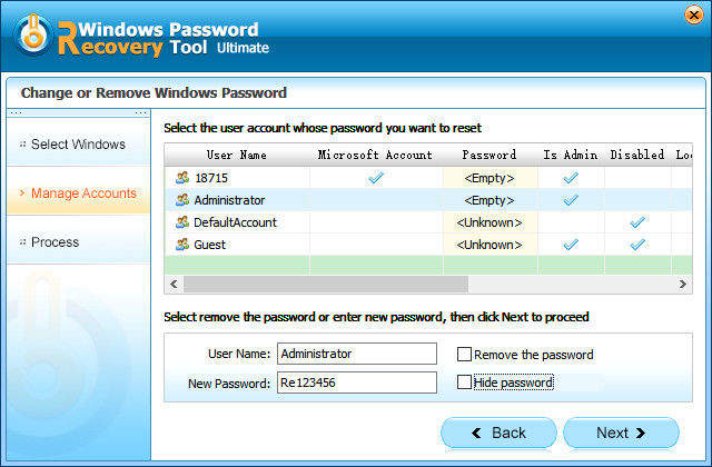 remove a password