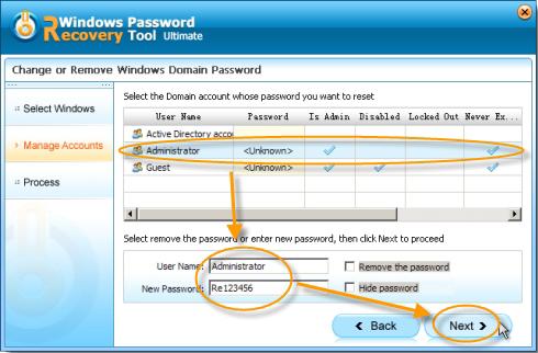 Mot de passe Windows interface de l'outil de récupération
