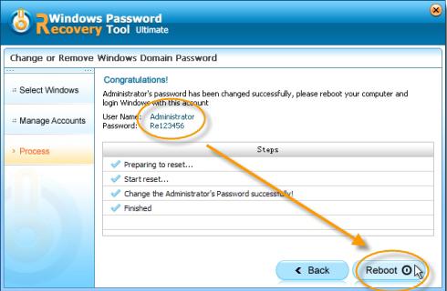 interface Windows de récupération de mot de passe