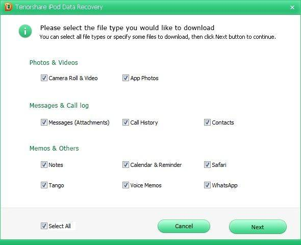 iCloudのからiPodのデータを選択