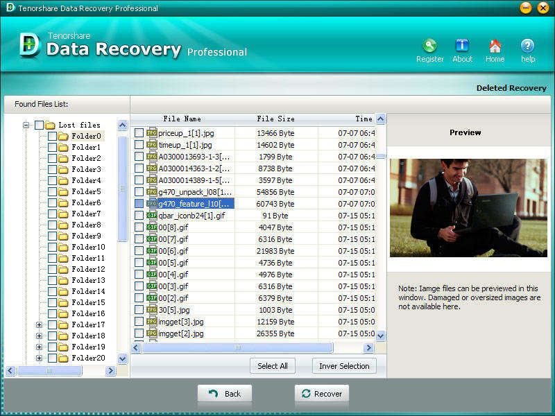 Click to view Tenorshare Data Recovery Professional screenshots