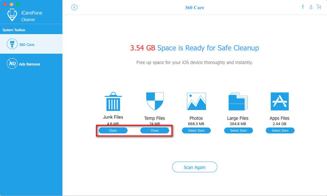 iCareFone Cleaner for Mac