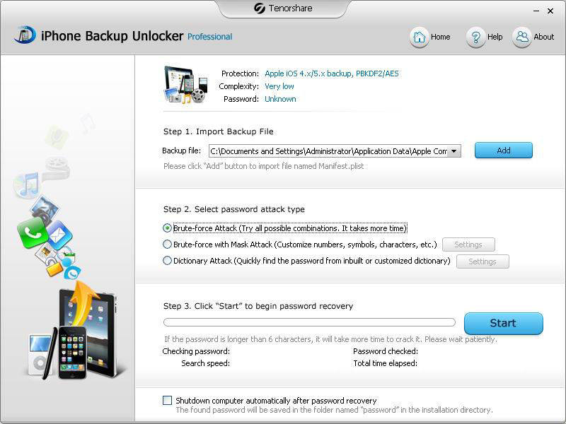 Tenorshare iPhone Backup Unlocker Pro Screen shot