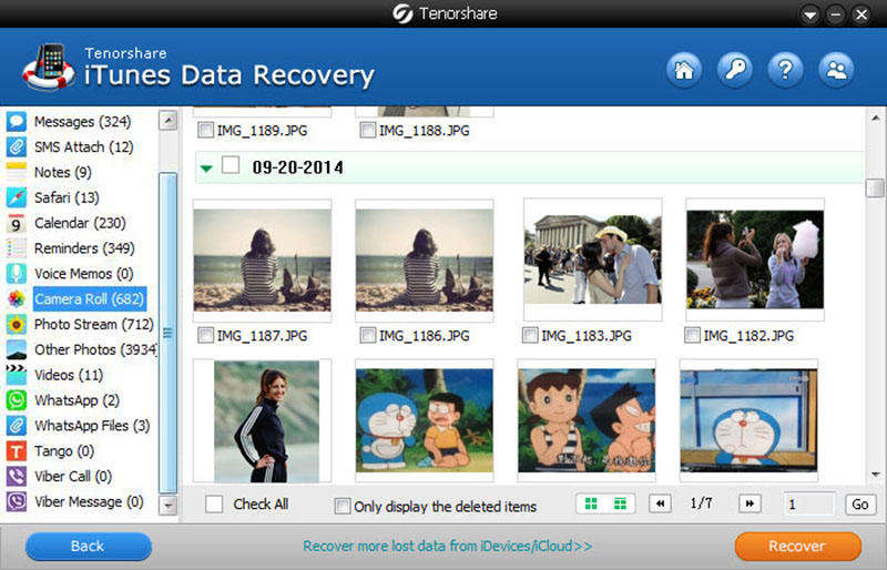 Click to view Tenorshare iTunes Data Recovery screenshots
