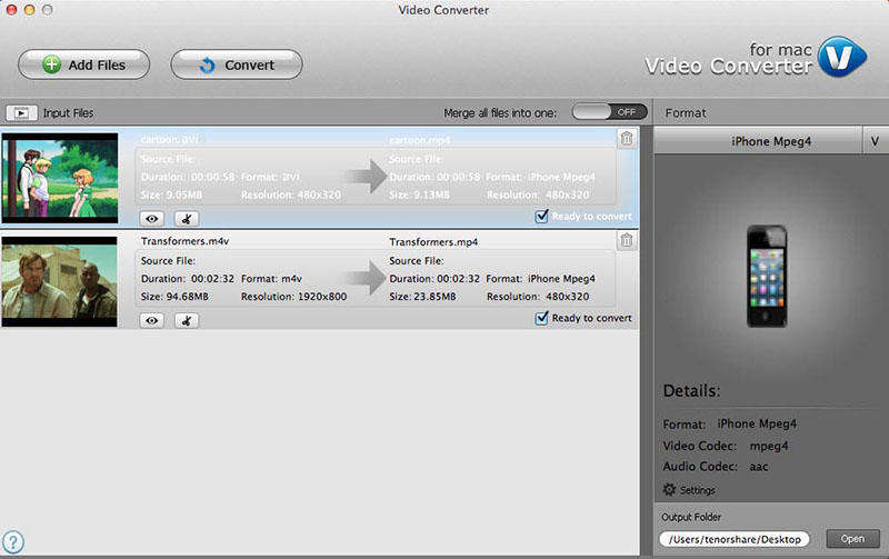 Tenorshare Video Converter for Mac Screen shot