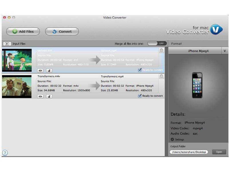 Tenorshare Video Converter for Mac 2.1.0.0 Screen shot