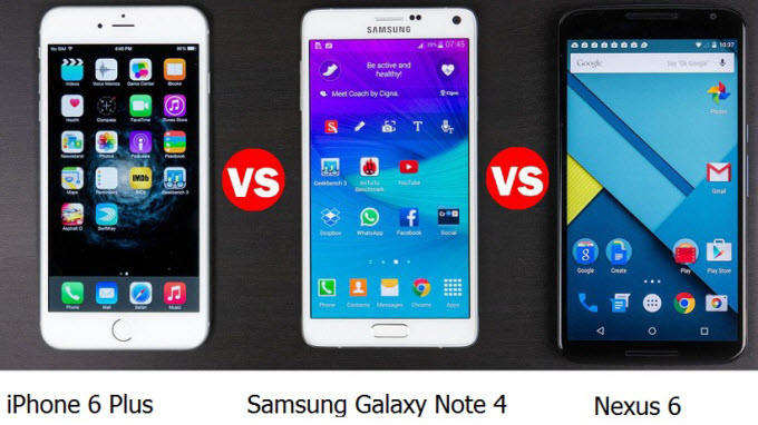 samsung note 4 vs iphone 6 + vs motorola nexus 6