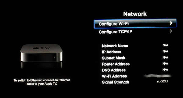Apple TV connect with Wi-Fi