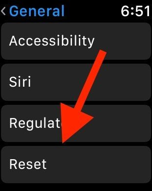 tap reset on your apple watch