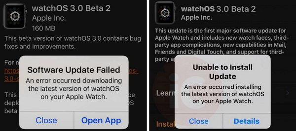 apple watchos 3 update failed